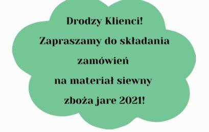 Materiał siewny – zboża jare 2021 r.
